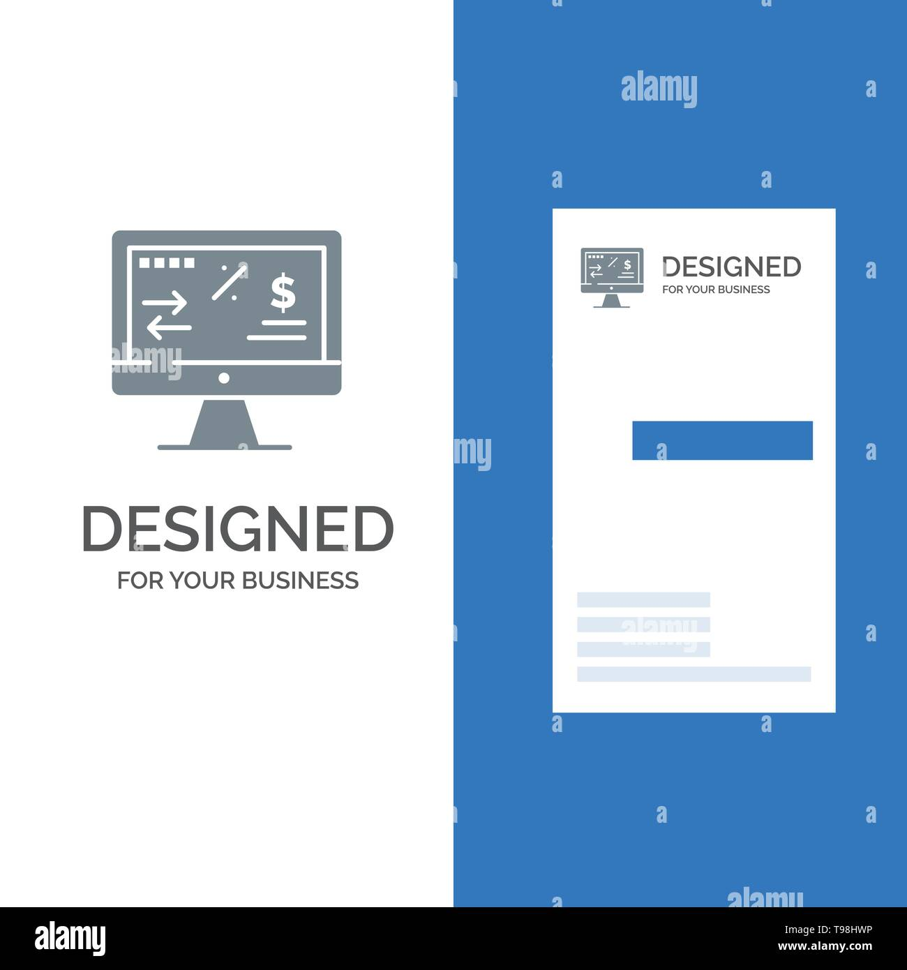 Tax Regulation, Finance, Income, Computer Grey Logo Design and Business Card Template - Stock Vector