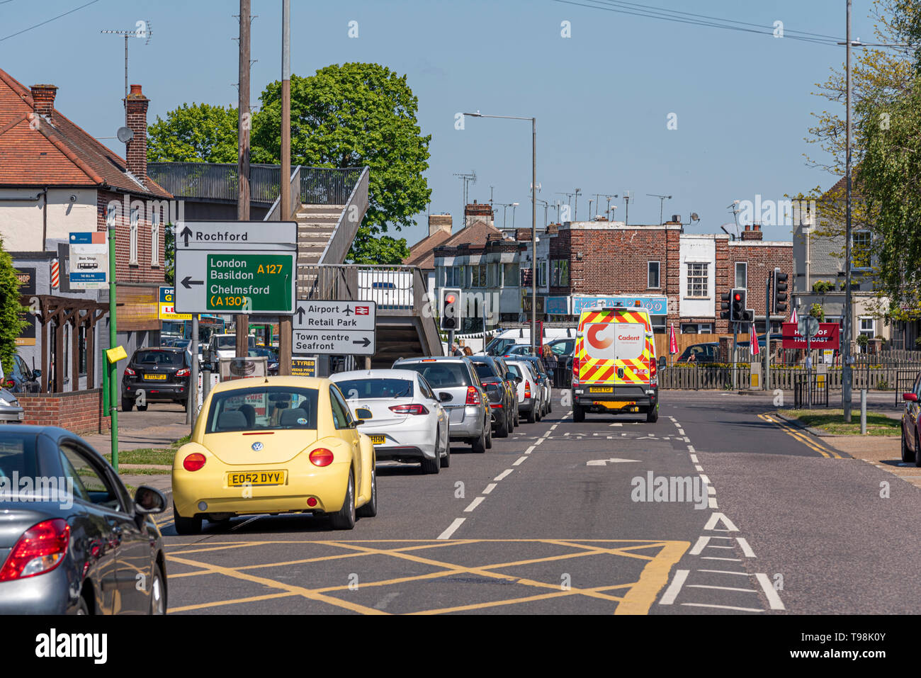 The Bell road junction of the A127 Prince Avenue with Hobleythick Lane. Queue of traffic. Cars. Vehicles. Lanes and signs. Space for copy - Stock Image