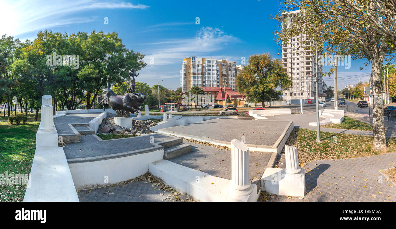 Odessa, Ukraine - 10.20.2018. Abduction of Europa Monument in Odessa, Ukraine - Stock Image