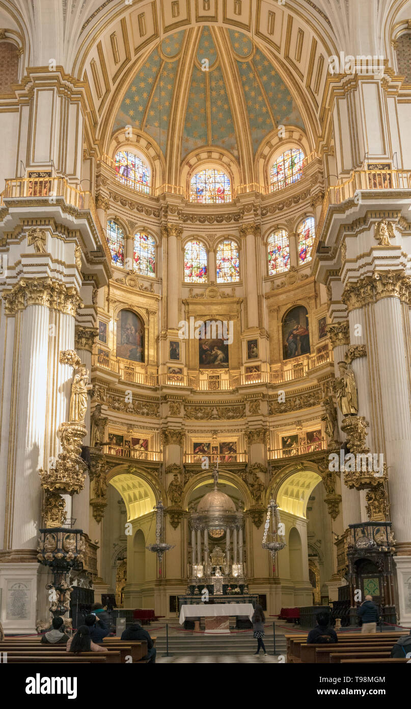The Capilla Mayor, or main chapel of the cathedral.  Full name, Santa Iglesia Catedral Metropolitana de la Encarnacion, or Metropolitan Cathedral of t - Stock Image