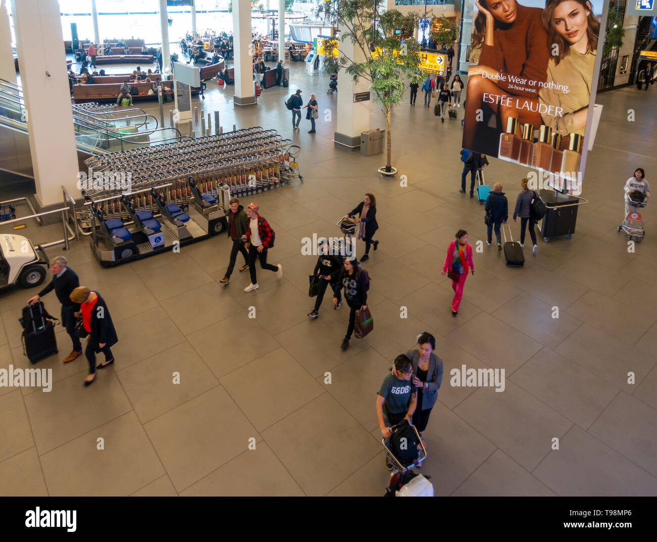 Elevated view of paseengers in the concourse of  Schiphol Airport, Amsterdam. Also shown: disability transport, lounge area, trolley park, Estee Laude - Stock Image