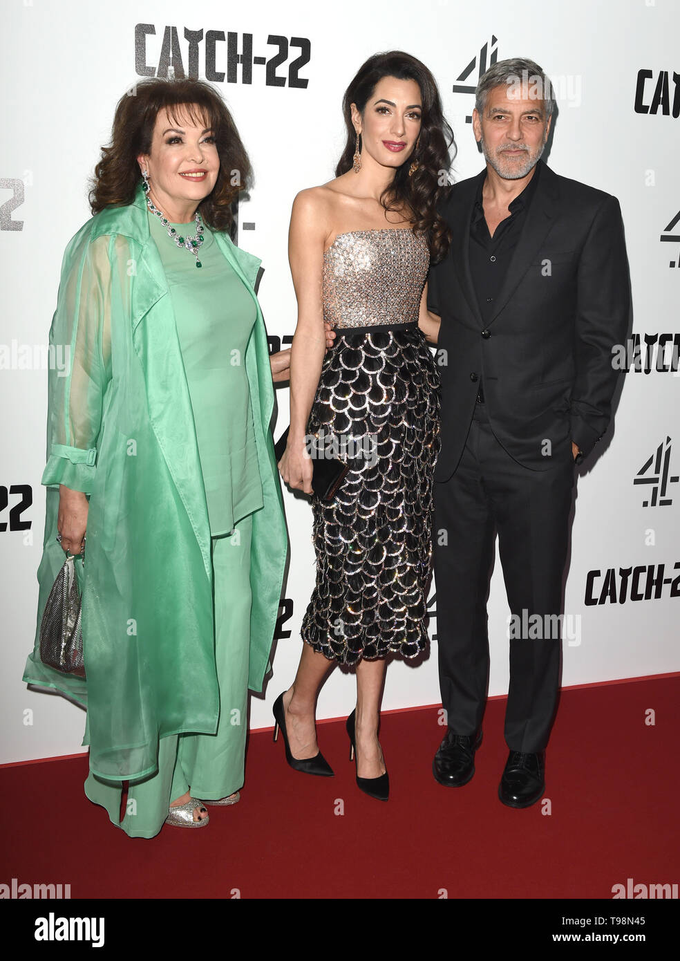 Photo Must Be Credited ©Alpha Press 079965 15/05/2019  Baria Alamuddin and Amal and George Clooney  Catch 22 UK Premiere Vue Westfield London - Stock Image