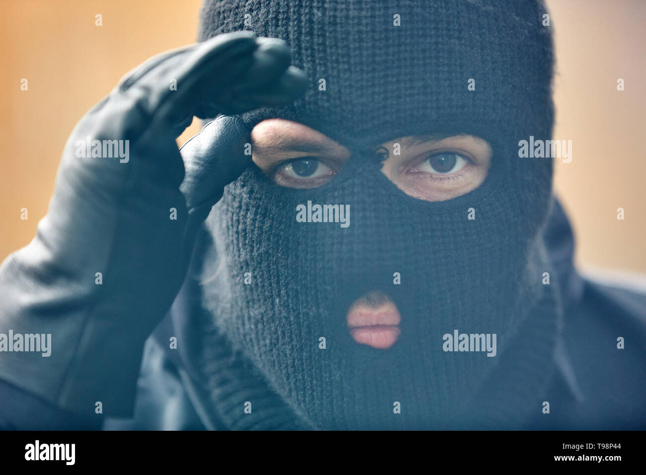 Police SEK Einsatzkraft with storm mask looks through a window into a house - Stock Image