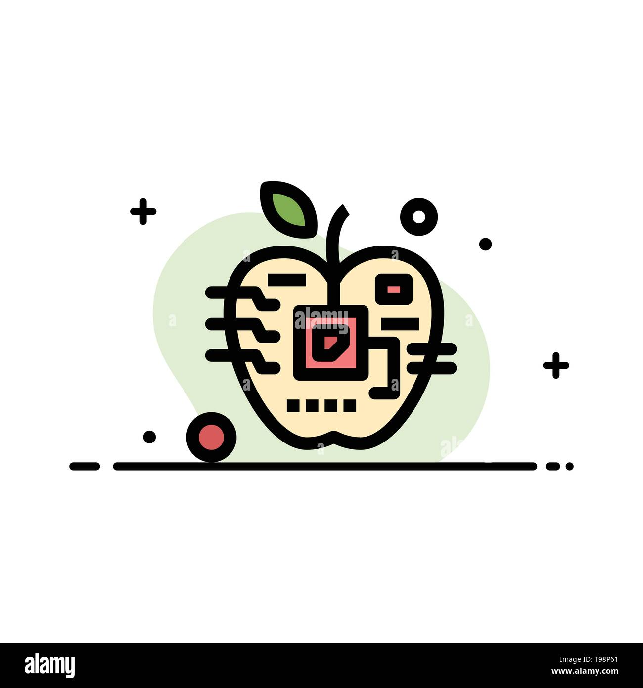 Apple, Artificial, Biology, Digital, Electronic  Business Flat Line Filled Icon Vector Banner Template - Stock Image