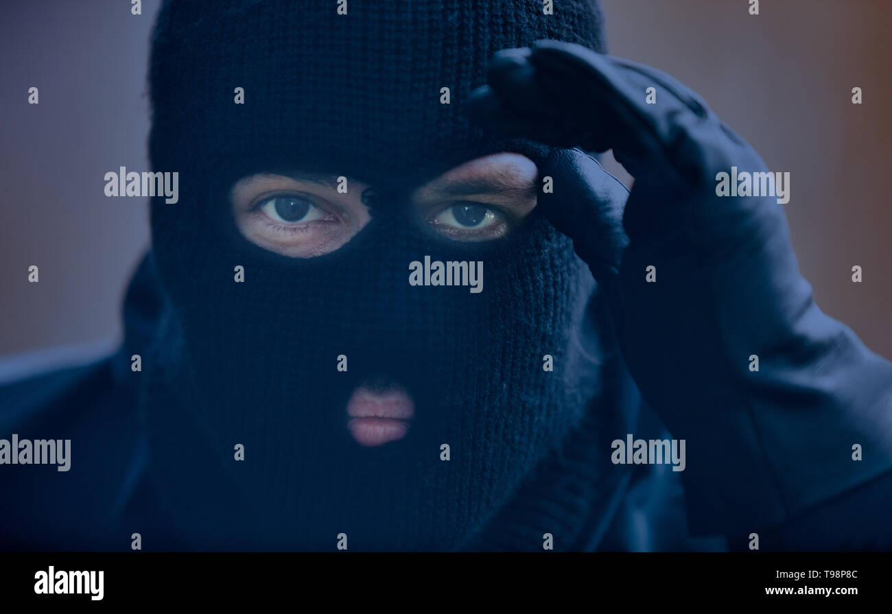Burglar with storm mask while spying on a house for a burglary - Stock Image