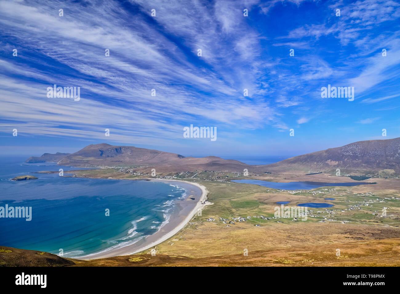 Ireland, County Mayo, View of Keel Beach from Minaun Cliffs. - Stock Image