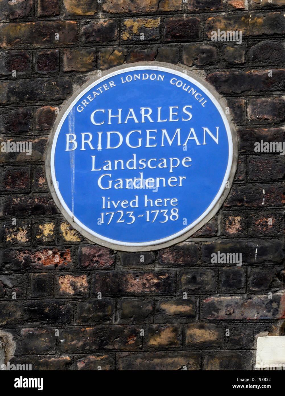 Greater London Blue Plaque marking a home of landscape gardener Charles Bridgeman 1723-1738 Broadwick Street, Soho, London, UK Stock Photo