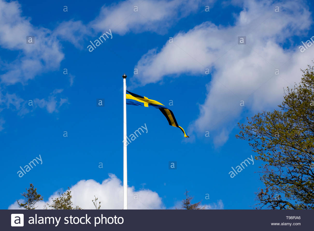 Swedish blue and yellow pennant flag on a flagpole against the blue sky and white clouds. - Stock Image