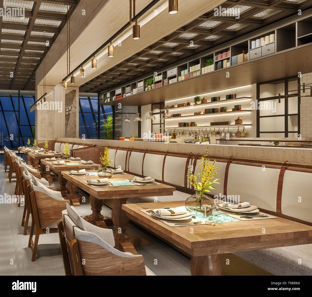 Modern Interior Design Of Restaurant Lounge Oriental Arabic Style With Wire Mesh Ceiling And Hidden Lights Wood And Bronze Gold Colors 3d Renderin Stock Photo Alamy