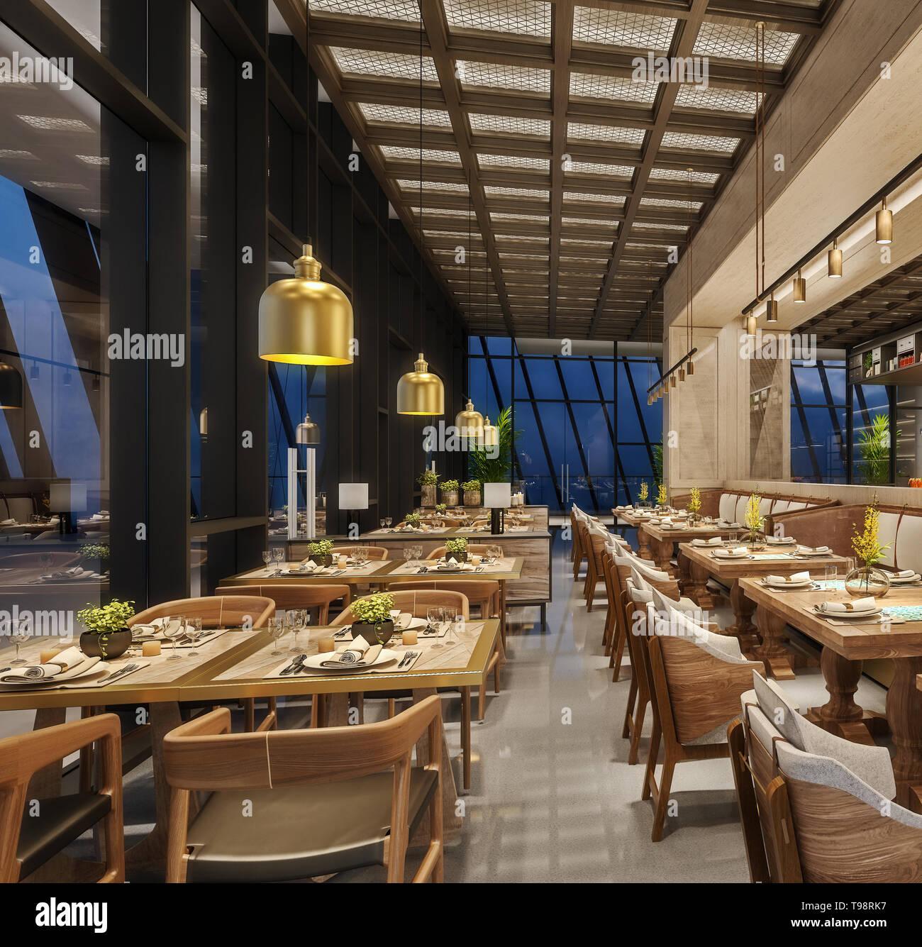 Modern interior design of restaurant lounge, oriental arabic ...