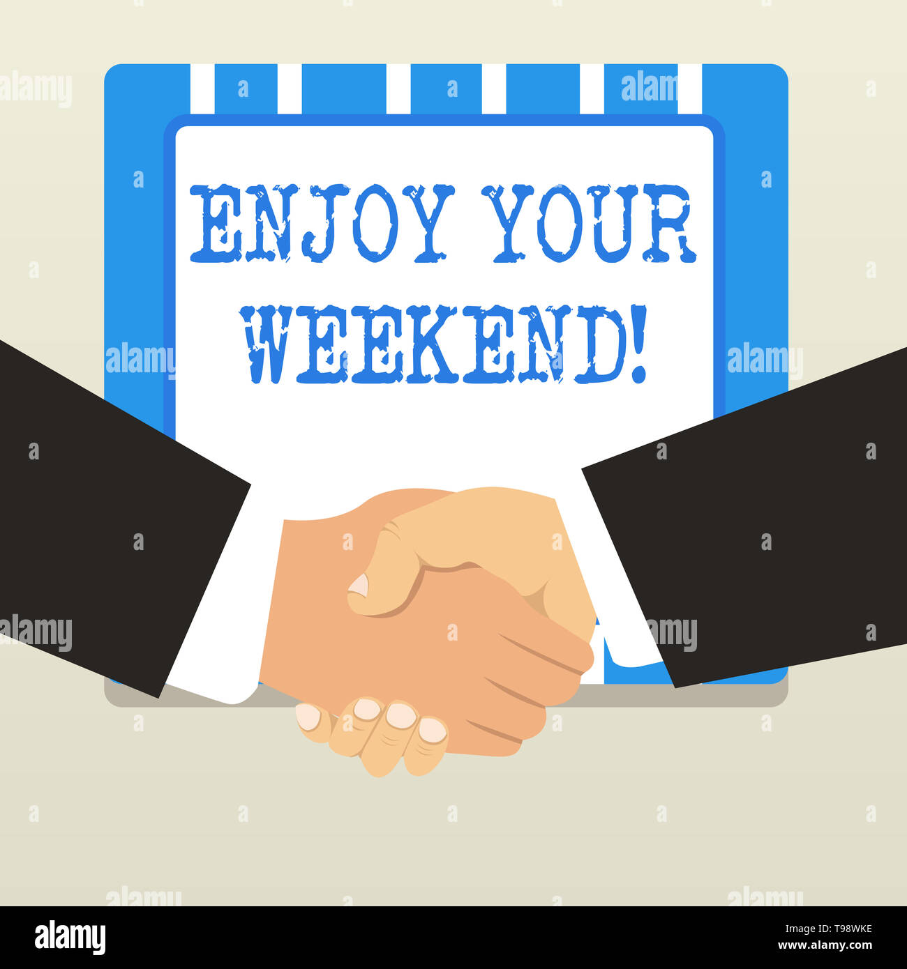 Word writing text Enjoy Your Weekend. Business photo showcasing wishing someone that something nice will happen at holiday - Stock Image