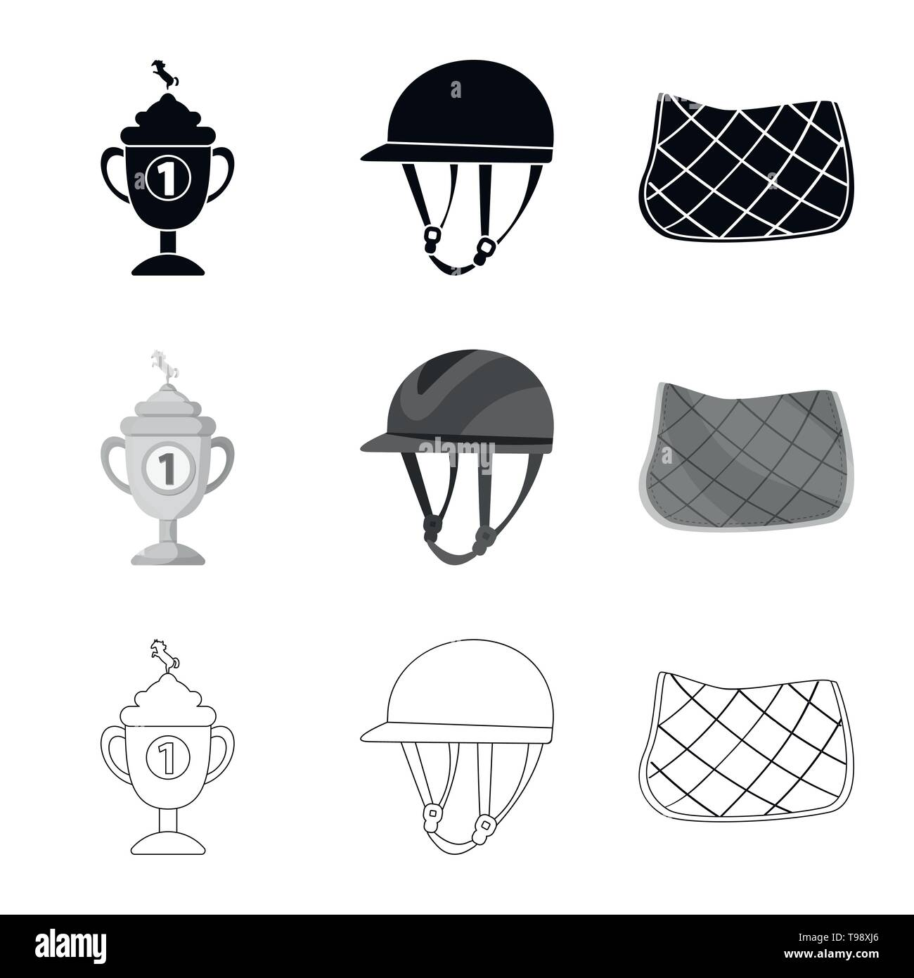 Isolated object of equipment and riding icon. Collection of equipment and competition stock symbol for web. - Stock Image