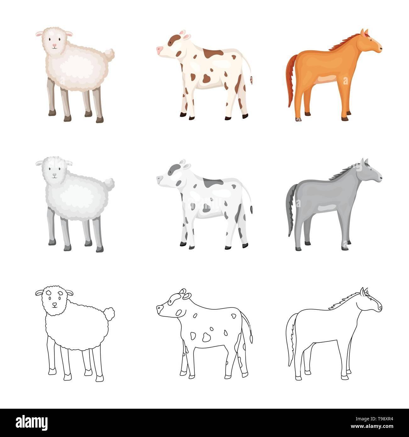 Isolated object of breeding and kitchen  icon. Collection of breeding and organic  stock vector illustration. - Stock Image