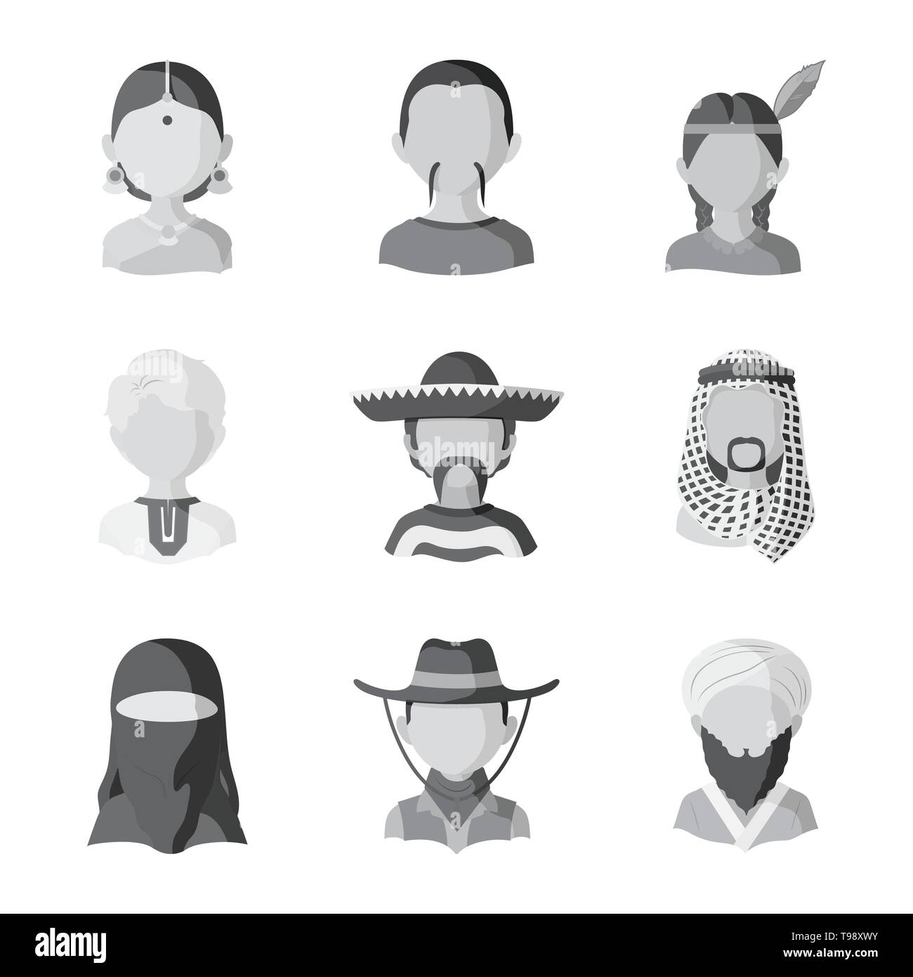 Isolated object of person and culture icon. Collection of person and race  vector icon for stock. - Stock Image