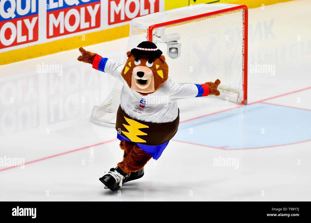 A mascot of the 2019 IIHF World Championship bear Macejko skates during the match between Czech Republic and Latvia within the 2019 IIHF World Champio - Stock Image