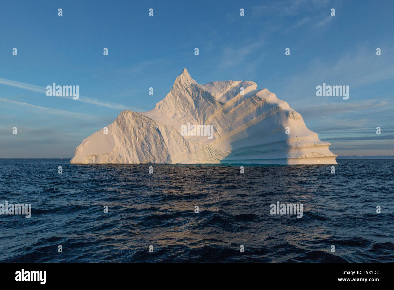 Icebergs in Disko Bay on Midsummer, Greenland Stock Photo