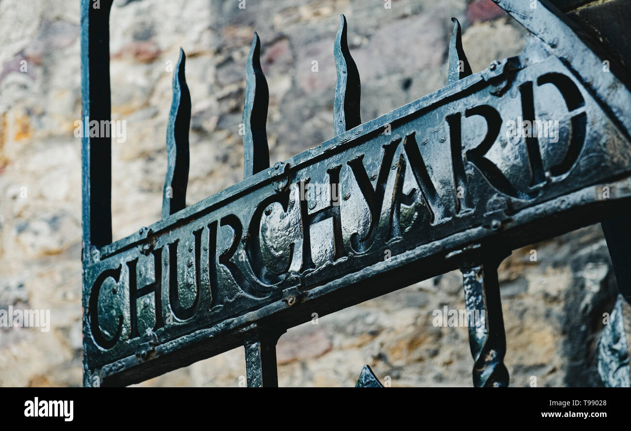 Ornate gates at entrance to Greyfriars Churchyard in Edinburgh Old Town, Scotland, UK - Stock Image
