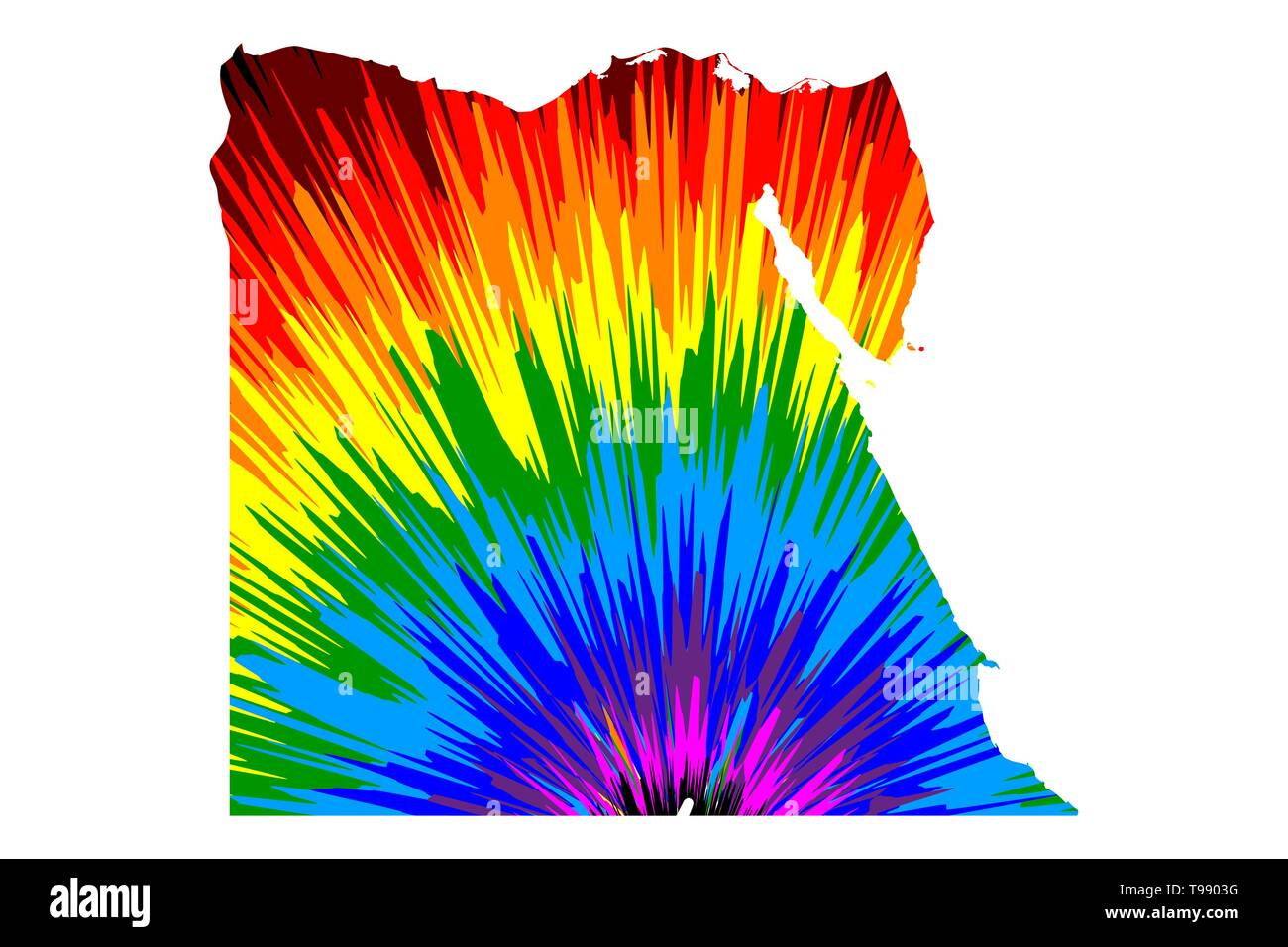 Egypt - map is designed rainbow abstract colorful pattern, Arab Republic of Egypt map made of color explosion, - Stock Image
