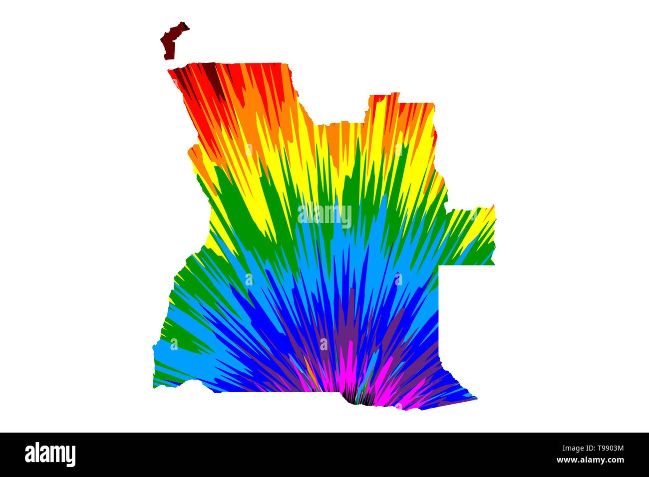 Angola - map is designed rainbow abstract colorful pattern, Republic of Angola map made of color explosion, - Stock Vector