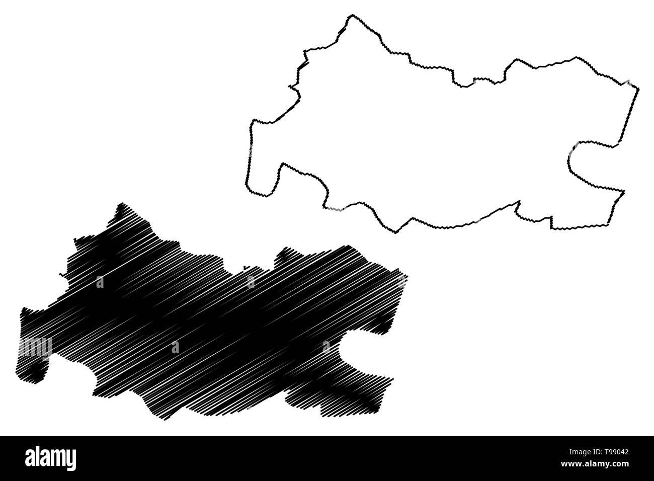 Tissemsilt Province (Provinces of Algeria, Peoples Democratic Republic of Algeria) map vector illustration, scribble sketch Tissemsilt map - Stock Image