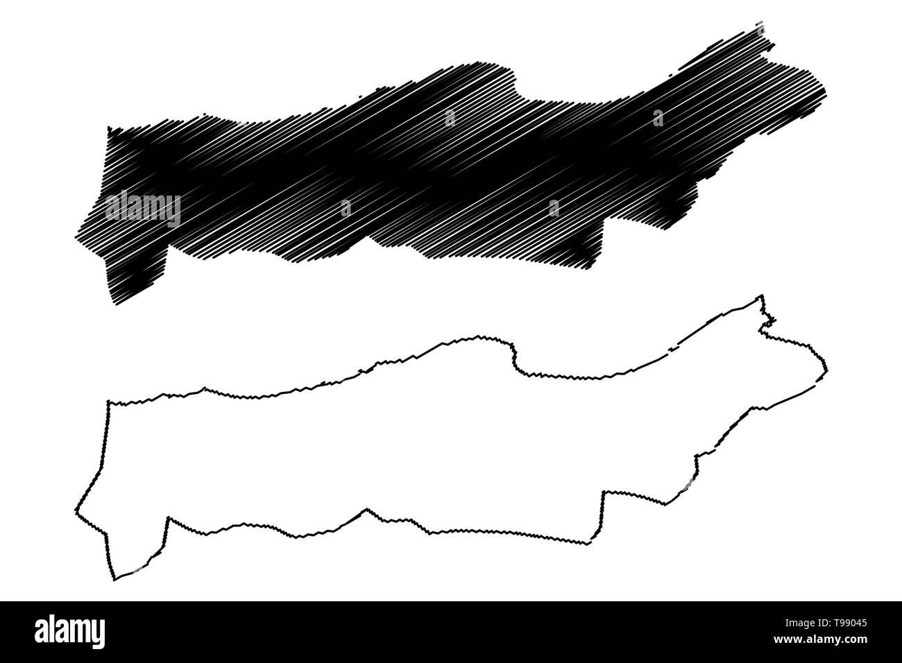 Tipaza Province (Provinces of Algeria, Peoples Democratic Republic of Algeria) map vector illustration, scribble sketch Tipasa map - Stock Image