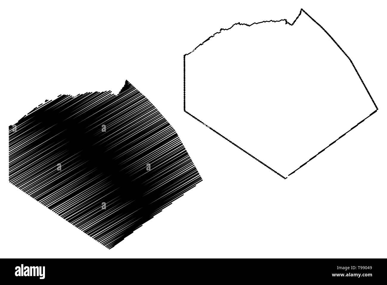 Tindouf Province (Provinces of Algeria, Peoples Democratic Republic of Algeria) map vector illustration, scribble sketch Tinduf map - Stock Image