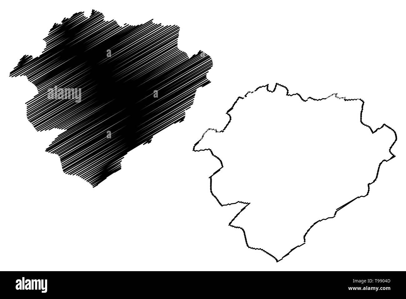 Tiaret Province (Provinces of Algeria, Peoples Democratic Republic of Algeria) map vector illustration, scribble sketch Tiaret map - Stock Image