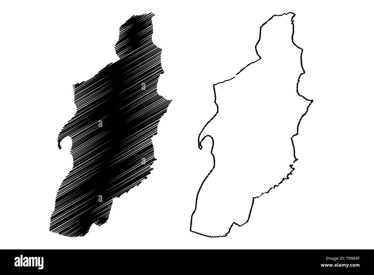 Tebessa Province (Provinces of Algeria, Peoples Democratic Republic of Algeria) map vector illustration, scribble sketch Tebessa map - Stock Image