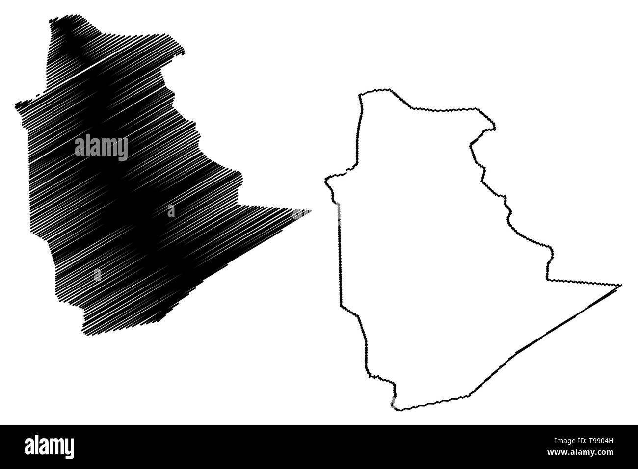Tamanrasset Province (Provinces of Algeria, Peoples Democratic Republic of Algeria) map vector illustration, scribble sketch Tamanghasset map - Stock Image