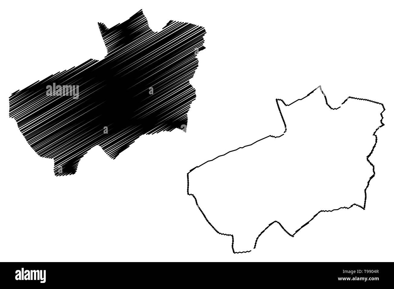 Souk Ahras Province (Provinces of Algeria, Peoples Democratic Republic of Algeria) map vector illustration, scribble sketch Souk Ahras map - Stock Image