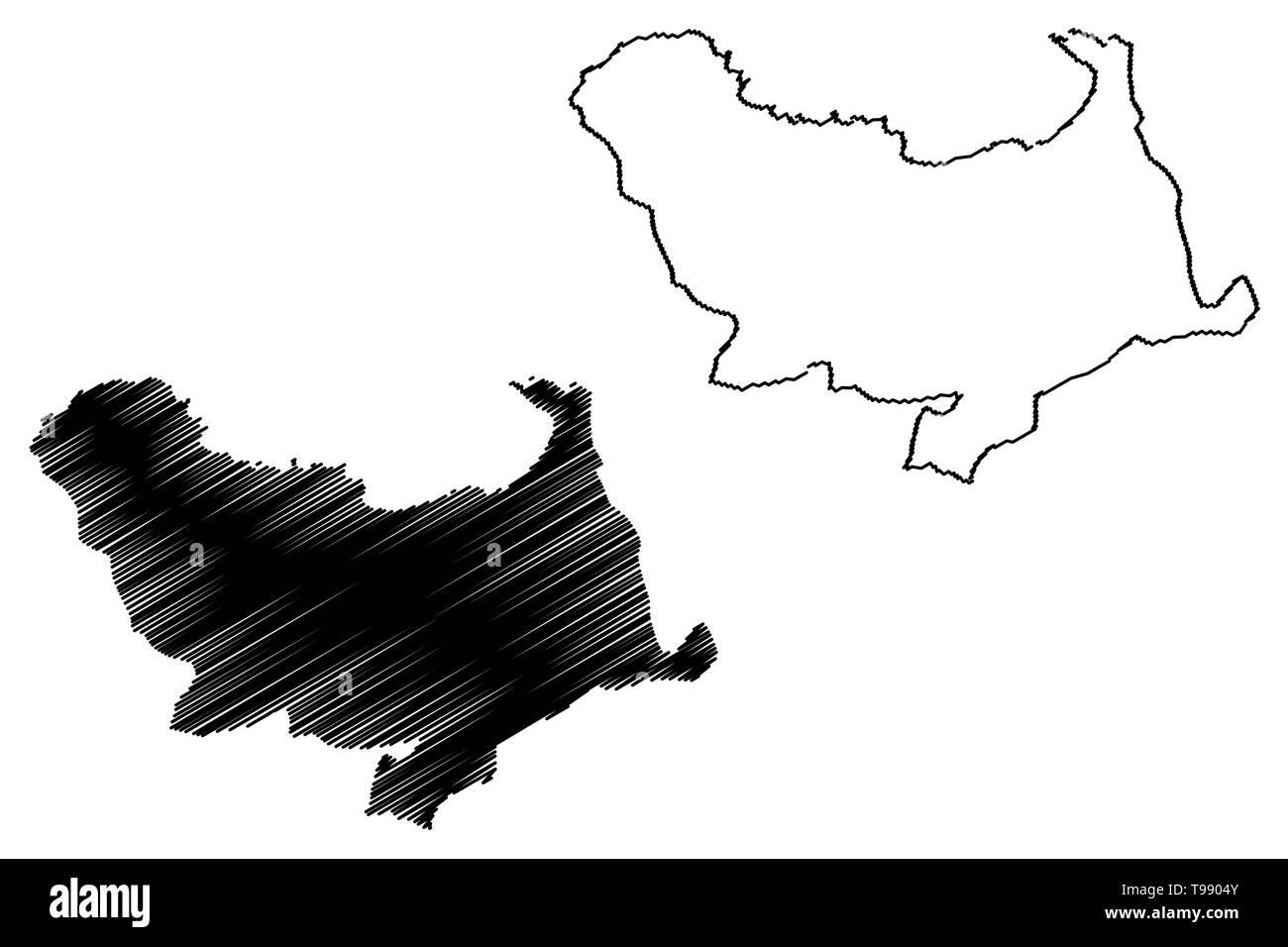 Skikda Province (Provinces of Algeria, Peoples Democratic Republic of Algeria) map vector illustration, scribble sketch Skikda map - Stock Image