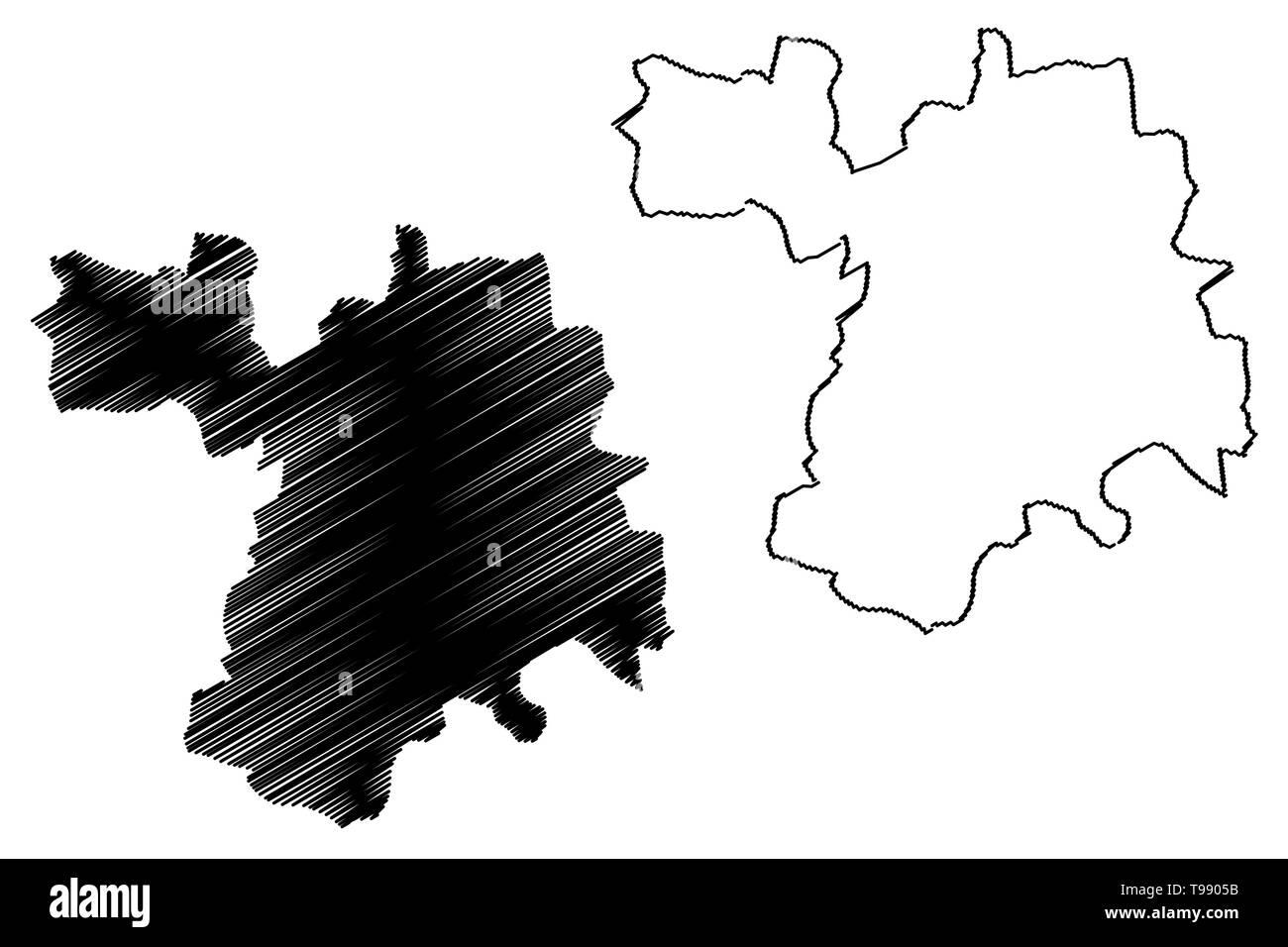 Setif Province (Provinces of Algeria, Peoples Democratic Republic of Algeria) map vector illustration, scribble sketch Setif map - Stock Image