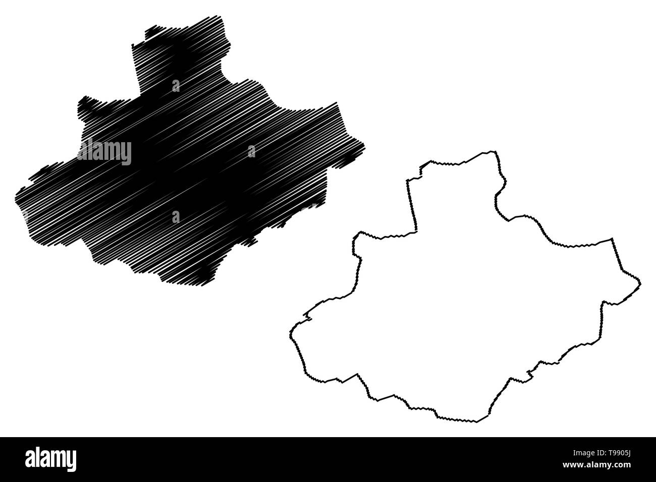 Relizane Province (Provinces of Algeria, Peoples Democratic Republic of Algeria) map vector illustration, scribble sketch Relizane map - Stock Image