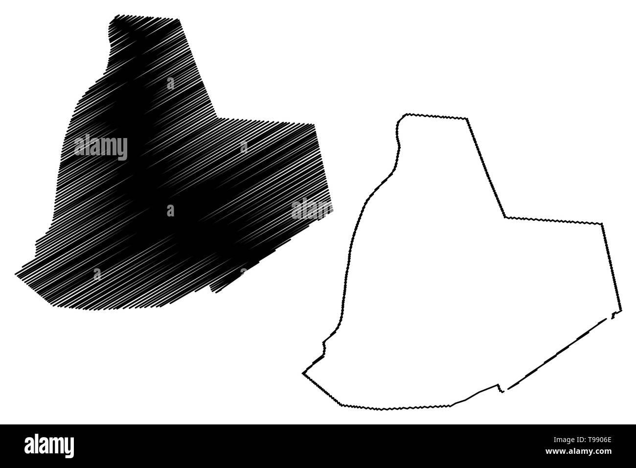 Ouargla Province (Provinces of Algeria, Peoples Democratic Republic of Algeria) map vector illustration, scribble sketch Warqla map - Stock Image