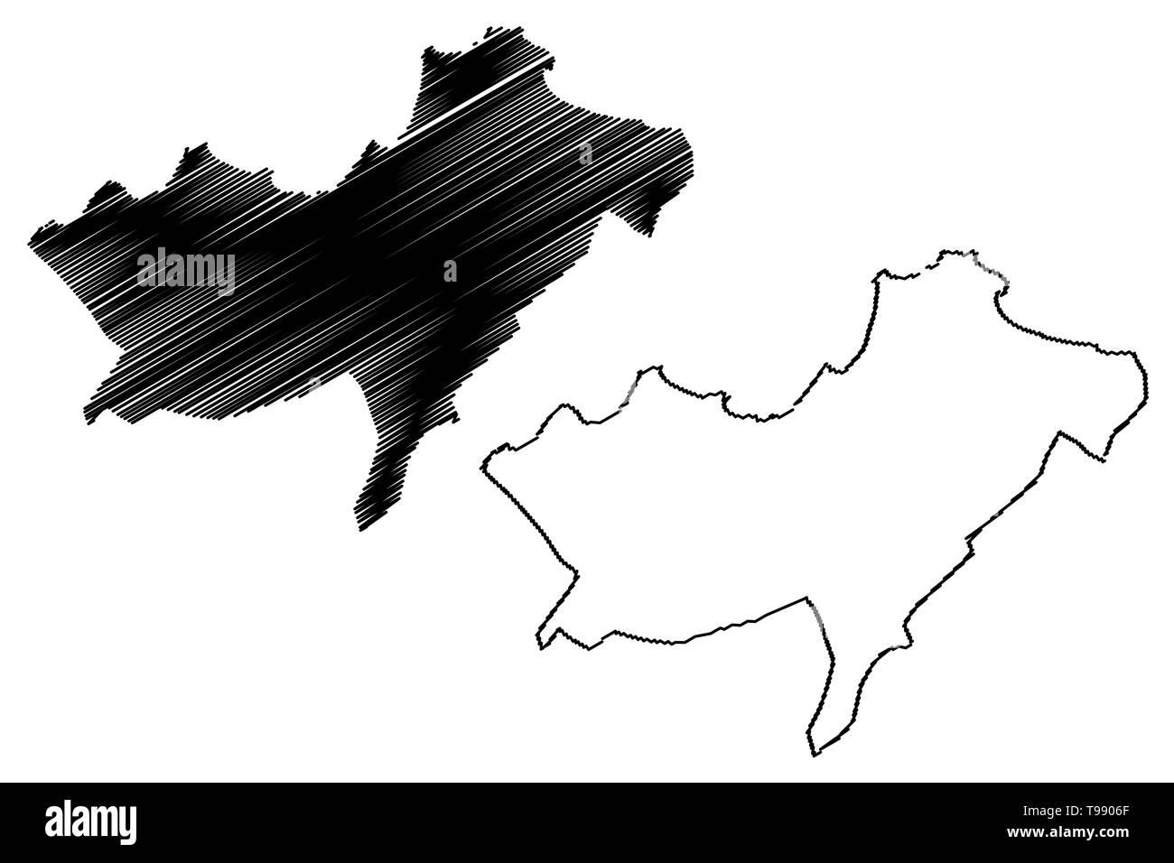 Oran Province (Provinces of Algeria, Peoples Democratic Republic of Algeria) map vector illustration, scribble sketch Oran map - Stock Image