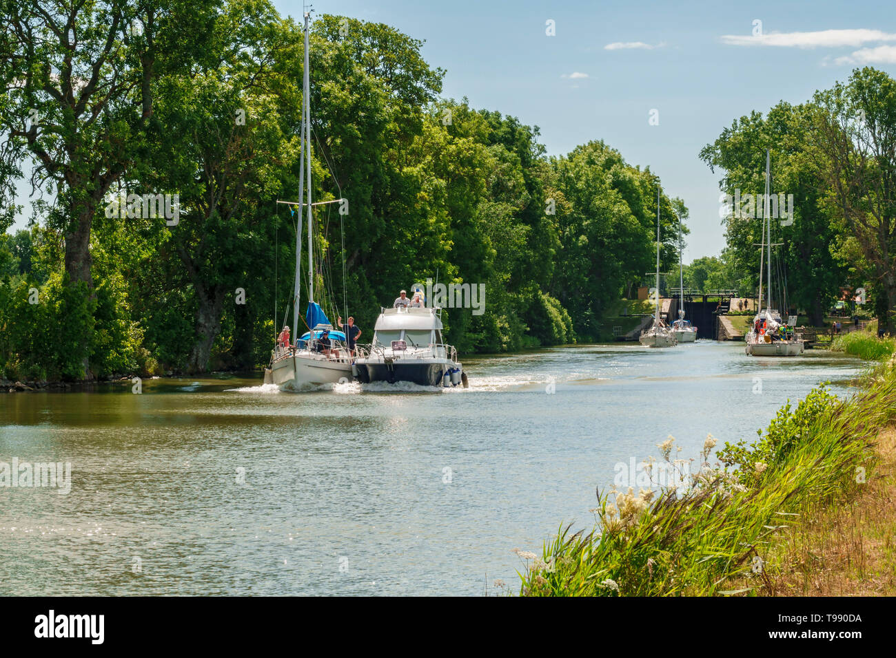 Leisure boats in a beautiful leafy canal in the summer - Stock Image