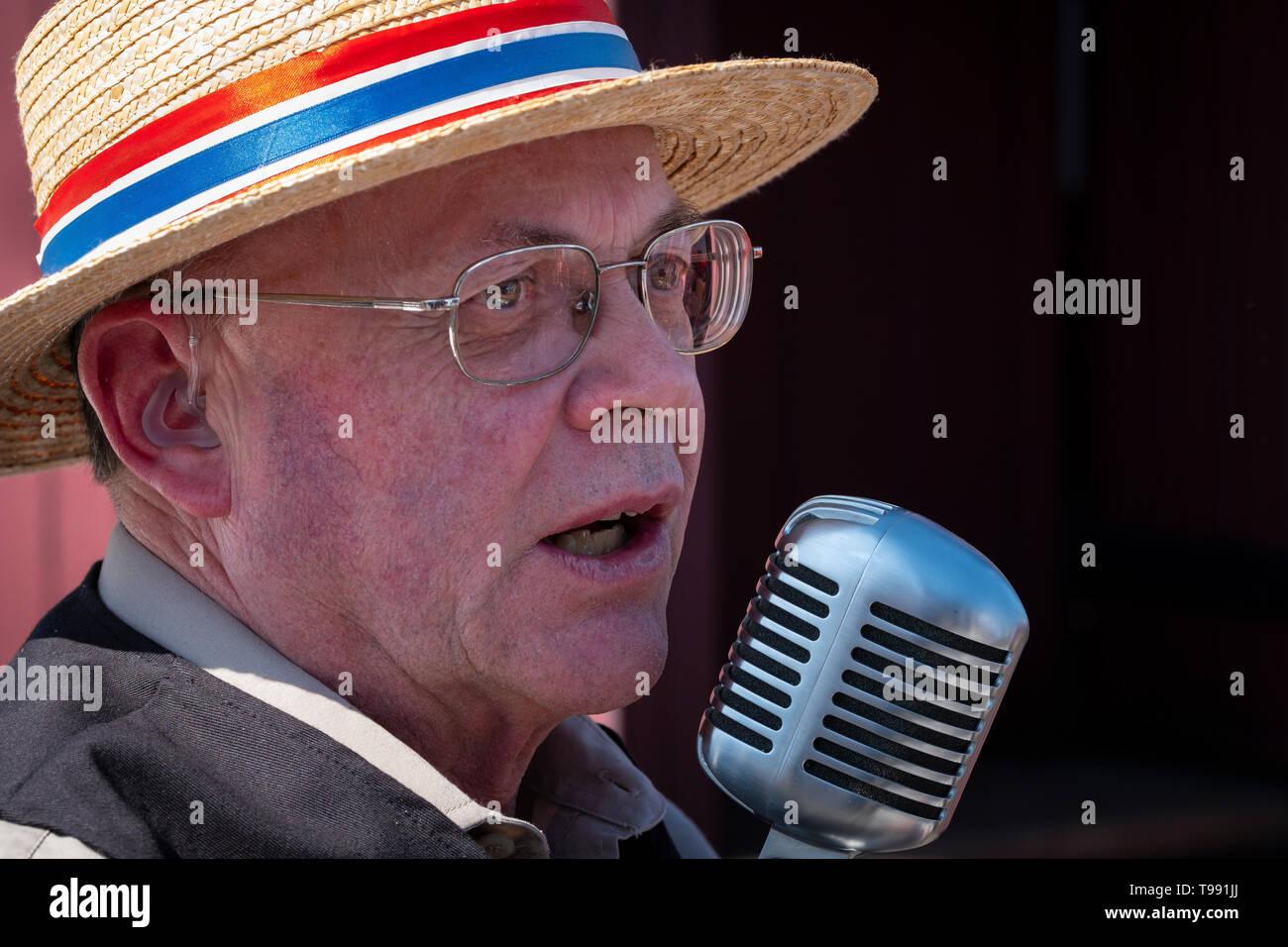 Old time singer at a steam engine rally. Stock Photo