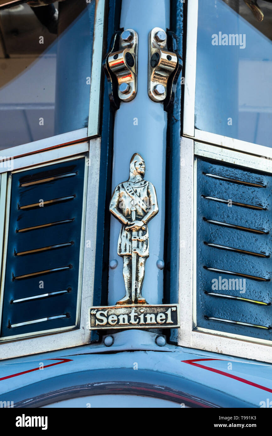 Detail from the front of a Sentinel steam lorry. - Stock Image
