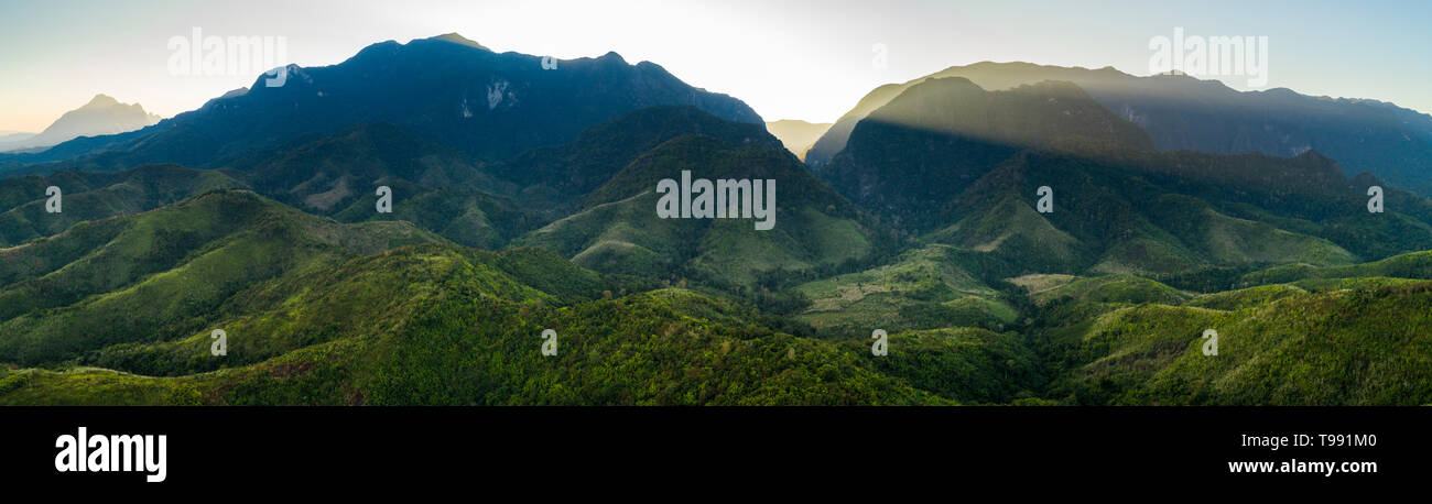 Mekong River and Mountains in Laos Stock Photo