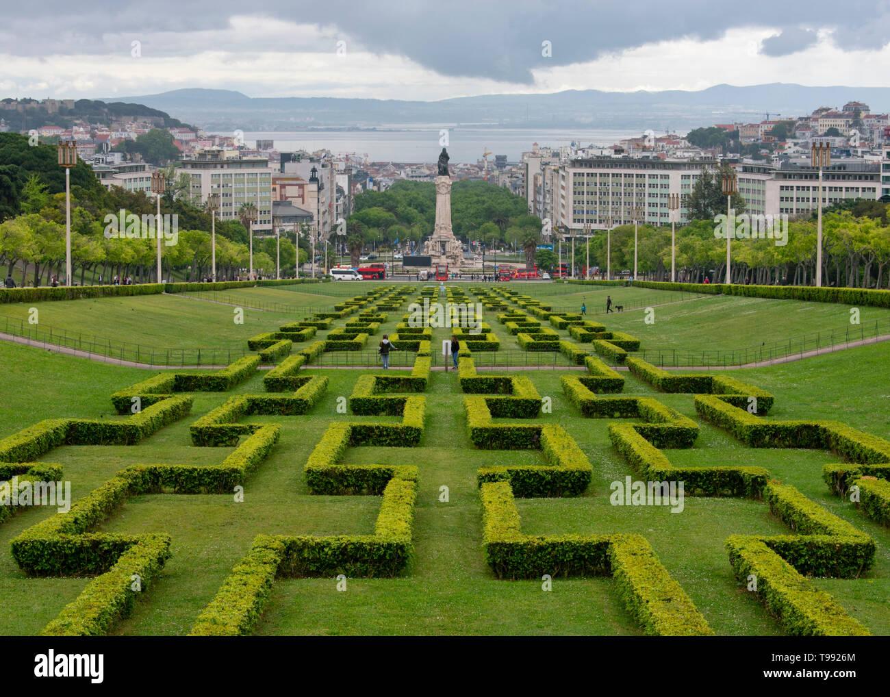 Eduardo VII park in Lisbon, Portugal. - Stock Image