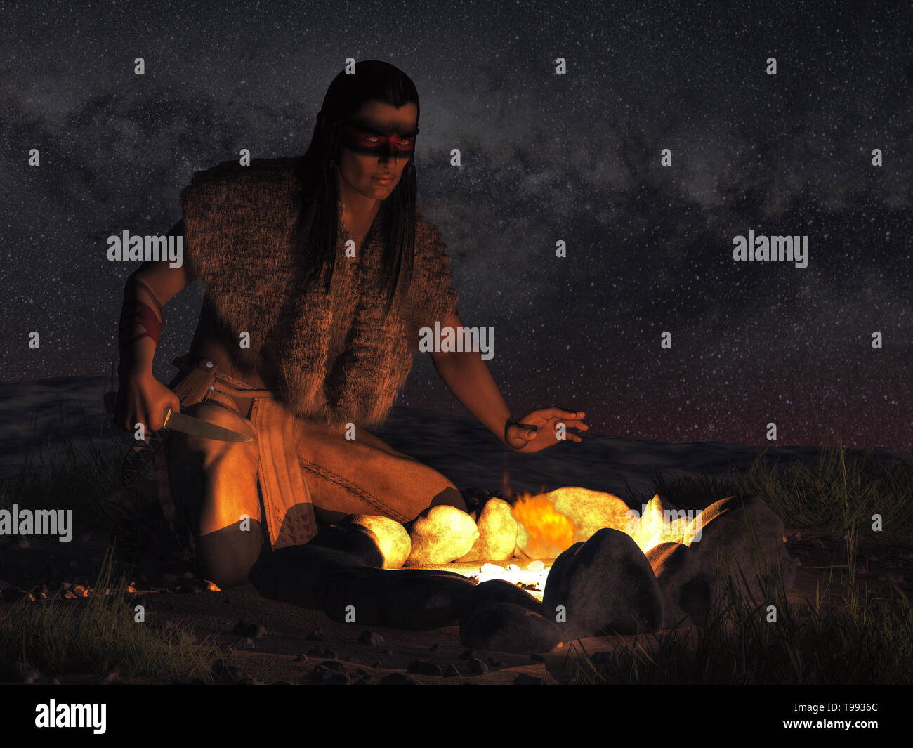 A Native American warrior sits by a campfire in the dark of night somewhere in the plains of the American Wild West, wearing warpaint on his face - Stock Image