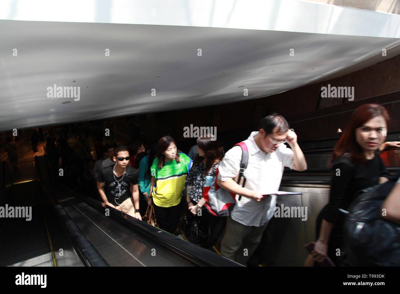 Singapore Mass Rapid Transit, (MRT) underground metro system Stock Photo