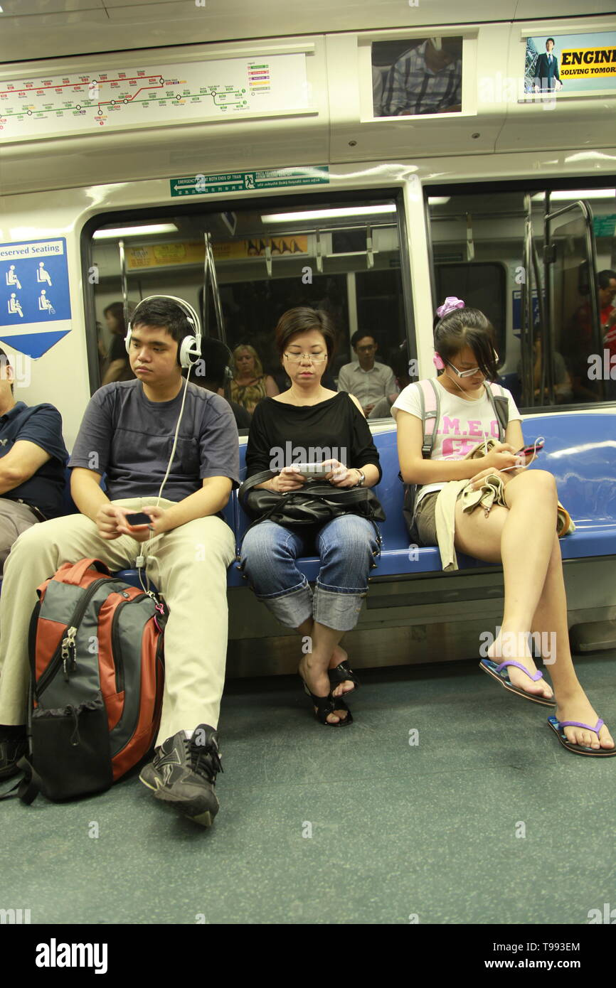 Singapore Mass Rapid Transit, (MRT) underground metro system - Stock Image