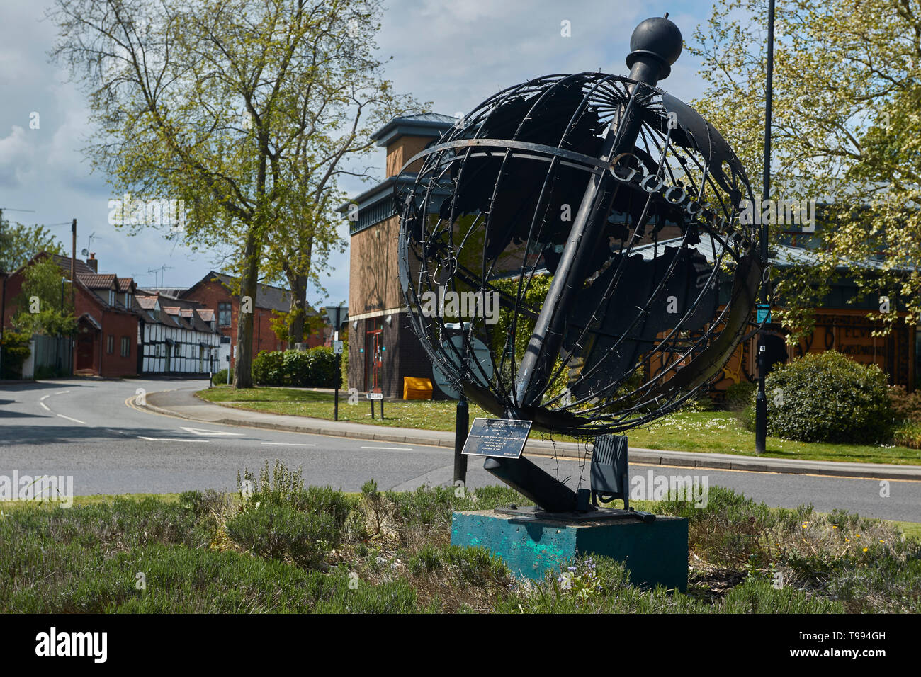 The Alcester globe presented to commemorate peace after WW2, Alcester, Vale of Evesham, England, United Kingdom, Europe - Stock Image