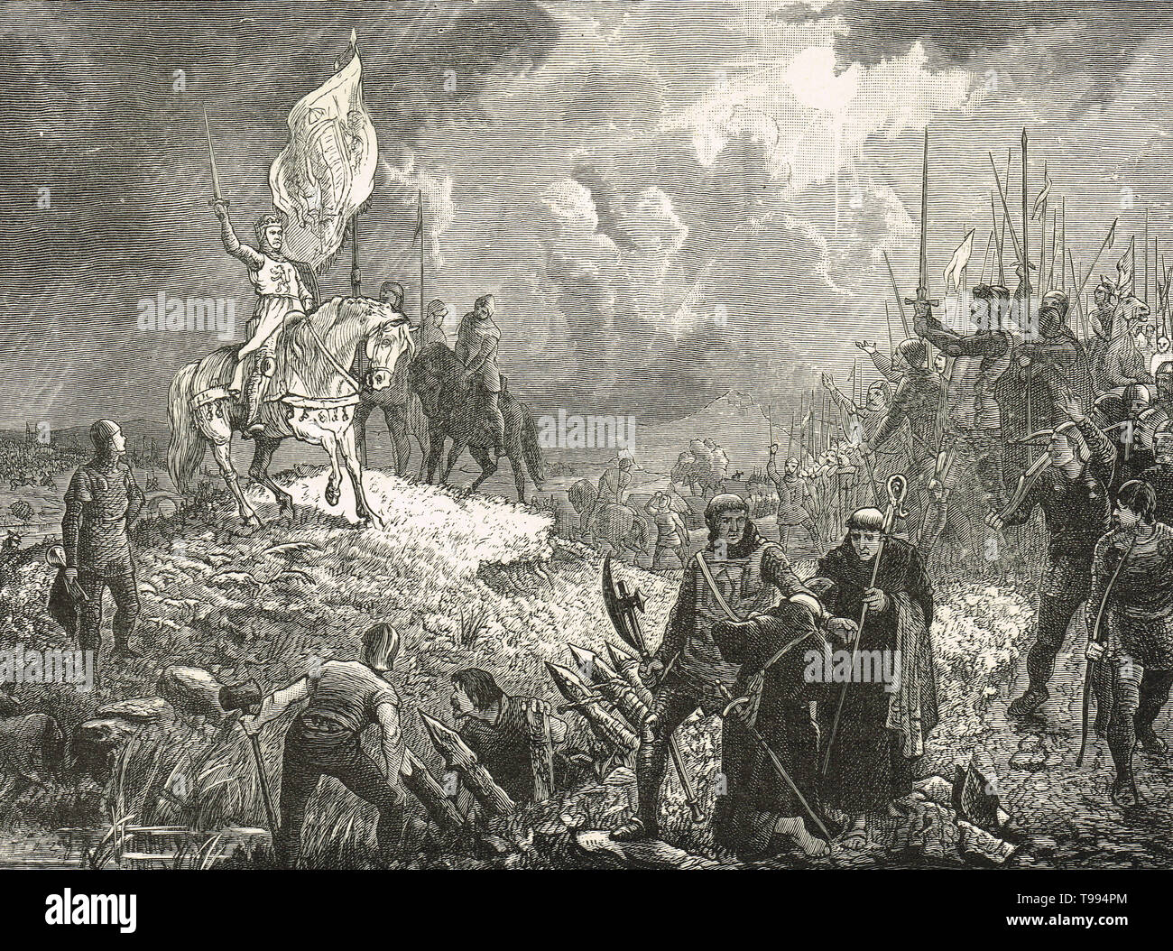 Robert the Bruce addressing his troops, Battle of Bannockburn, 24 June 1314 - Stock Image