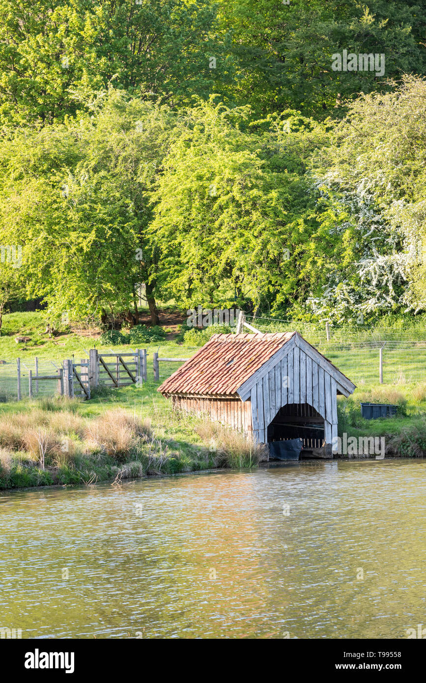 A wooden boathouse at the side of lake at Birkdale Farm Yorkshire UK Stock Photo