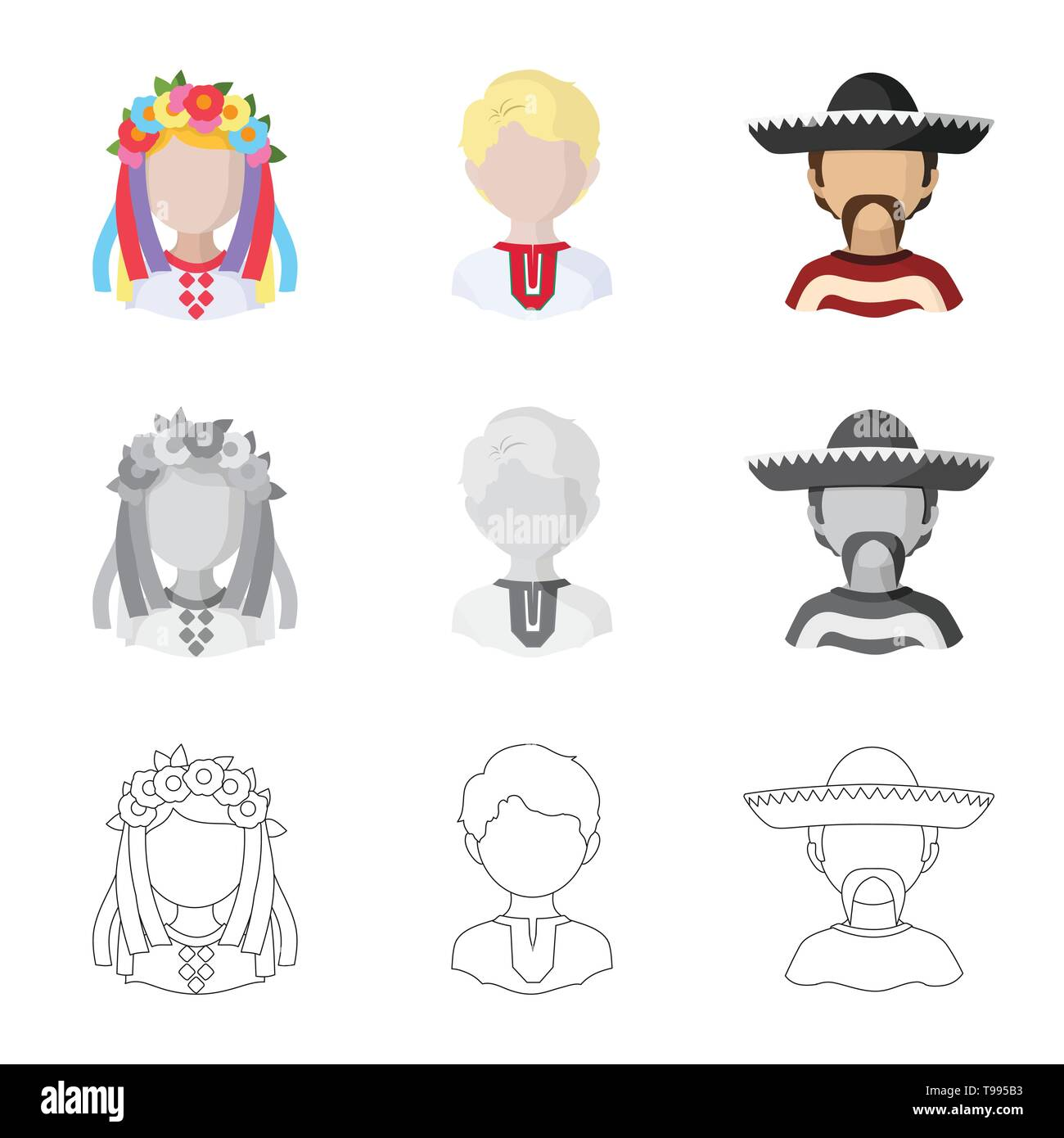 Vector illustration of imitator and resident symbol. Set of imitator and culture stock symbol for web. - Stock Image