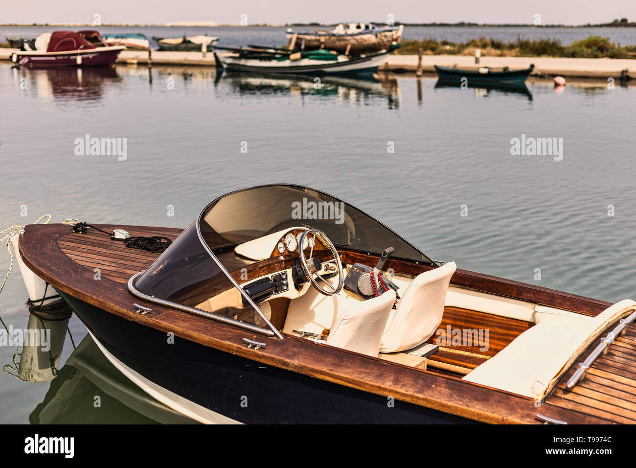 Close-up view of old speed boat in retro style Stock Photo