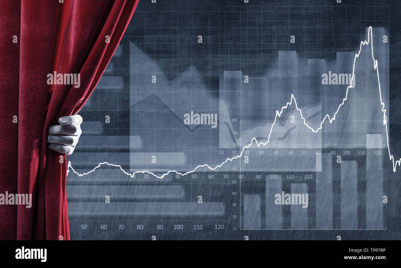 Graphs and diagrams behind drapery curtain and hand opening it - Stock Image
