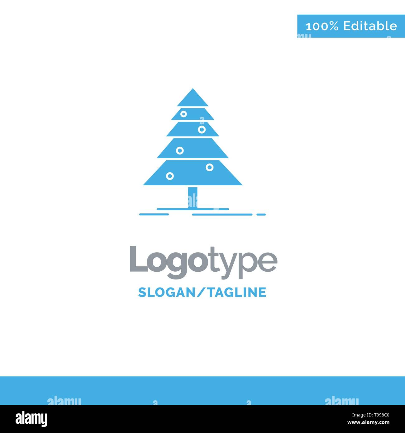 Tree, Forest, Christmas, XMas Blue Solid Logo Template. Place for Tagline - Stock Image